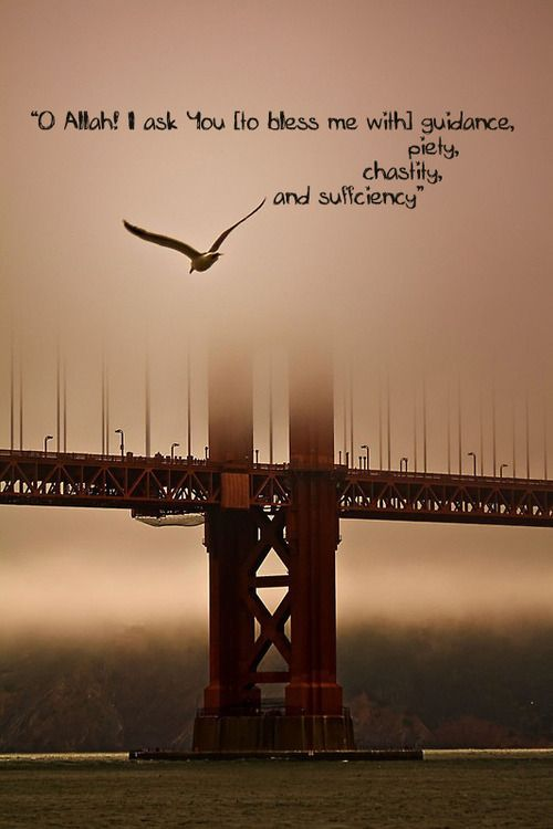 """""""O Allah! I ask You [to bless me with] guidance, piety, chastity, and sufficiency"""""""