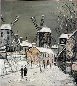Les Vieux Moulins de Montmartre by Maurice Utrillo, oil on canvas, 1936, 1883-1955 ArtExperienceNYC www.artexperiencenyc.com