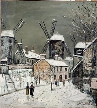 Les Vieux Moulins de Montmartre by Maurice Utrillo, oil on canvas, 1936, 1883-1955 ArtExperienceNYC www.artexperiencenyc.com