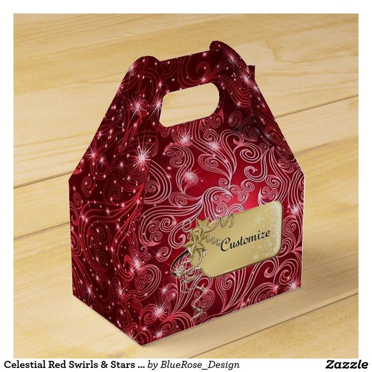 Celestial Red Swirls & Stars Gable Favor Box