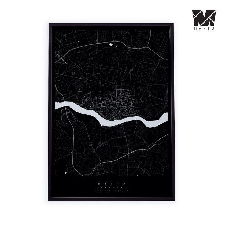 Czarno-biała mapa. Porto. | maptu.pl