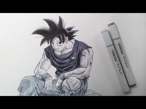 Drawing Goku - Black and White - YouTube