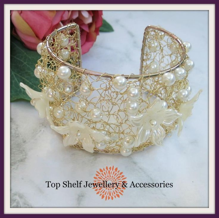 Cream Pearl Crochet Wire and Beaded Cuff bracelet by Top Shelf Jewellery & Accessories