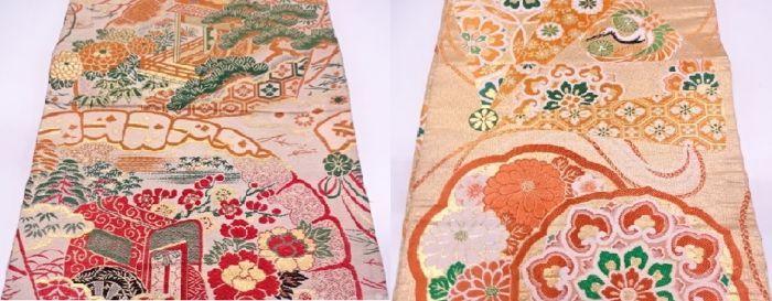 """Twee antieke maru obi (kimono sash) versierd met traditionele patronen - Japan - ca. 1950  Maru obi (丸帯 """"een stuk obi"""") is de meest formele obi. Het is is gemaakt van doek ongeveer 68 cm breed en gevouwen rond een dubbele voering en aan elkaar genaaid.1. de obi is versierd met klassieke Japanse patronen sush als Japanse fans imperial karren dennen bamboe en plum blossoms.-Sommige kleine vlekkenLengte 380 cmbreedte 32 cm2. de obi is versierd met klassieke Japanse patronen sush als Japanse…"""