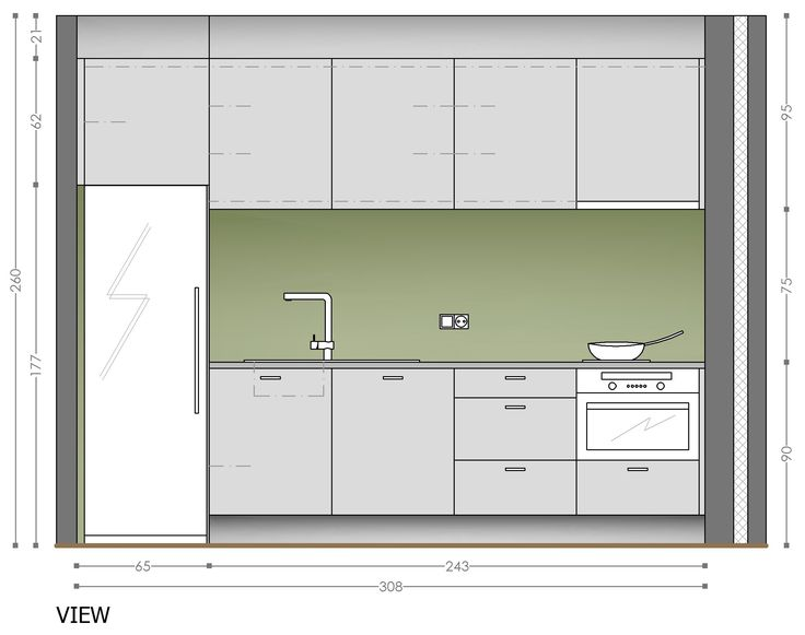 One Wall Corridor Kitchen Plan