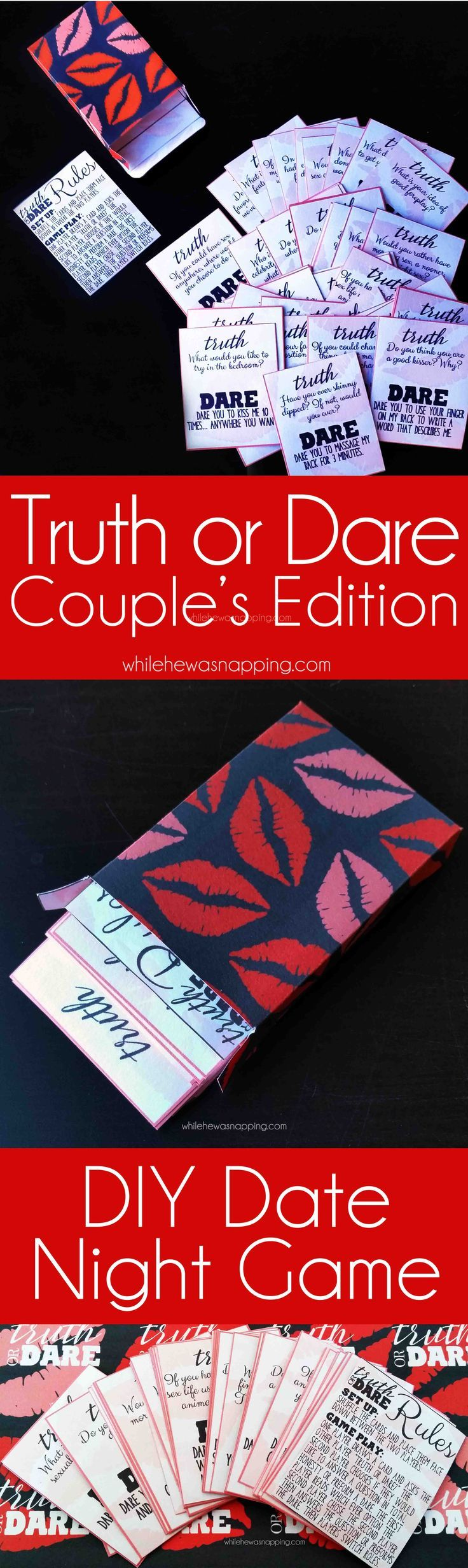 DIY Truth or Dare Couple's Edition Printable game! Perfect for a spicy date night in and makes game play smooth and fun!