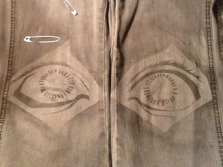 Eyes on knees-- mother pair of jeans I've altered.