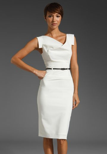 Jackie-O Dress by Black Halo - love everything about this dress: the fitted pencil skirt, the assymetrical draped neckline, the squared-off cap sleeves! Got it in gray :)