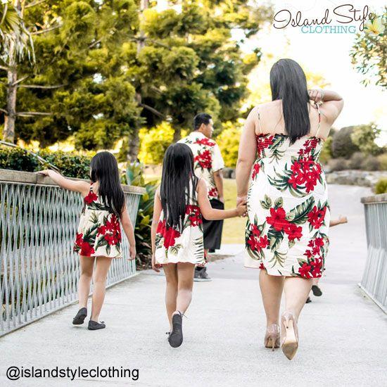 Mother - Daughter matching Hawaiian Clothing. Cream & Red Leaf - Luau, Cruise, Beach Wedding, Moana Party.