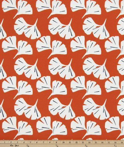 Outdoor Ginkgo Orange Polyester Outdoor Fabric by Premier Prints