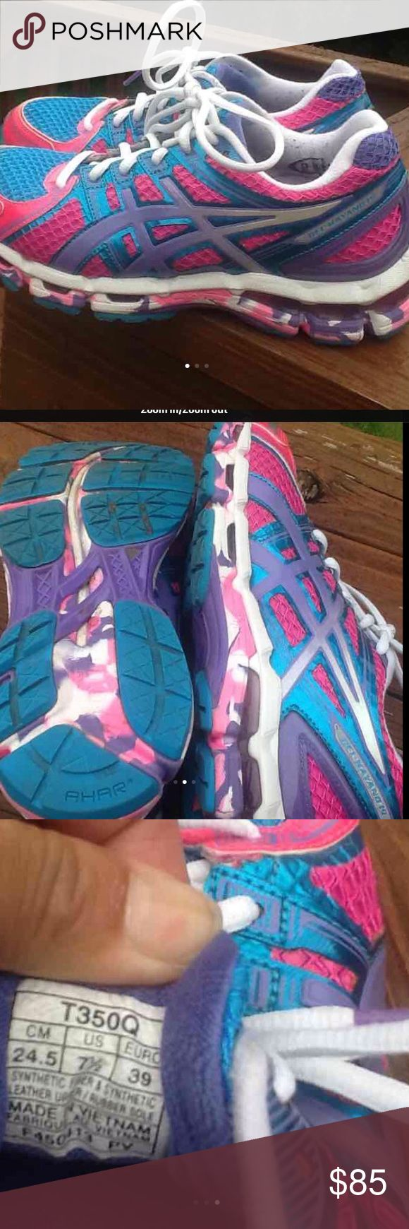 Asics kayano 19 size 7.5 Asics kayano 19 women's size 7.5 no running miles use only indoor gym! Awesome shoes for serious runners Asics Shoes Athletic Shoes