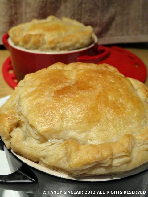 "Lobster Pot Pie -  Important hint: Cut an ""X"" in the top of each pie to allow the steam to vent."
