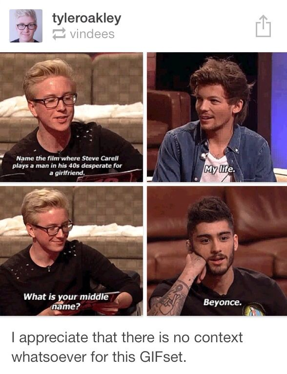 THIS IS WHEN TYLER INTERVIEWED THEM ON 1D DAY AND THEY HAD TO ANSWER THE QUESTION ASKED AFTER ANOTHER QUESTION OMG I REMEMBER THIS OFKAHSHDLALA