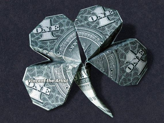 4 LEAF CLOVER Dollar Origami - Lucky Plant Flower Made of Real Money