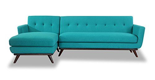 Karl Jackie Mid Century Modern Sectional Sofa Left Turquoise Cashmere Wool