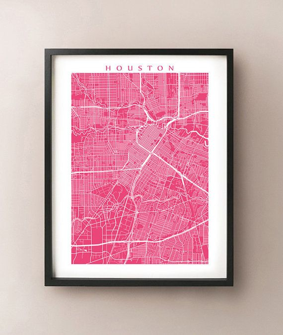 Houston Map Print  Texas Poster by CartoCreative on Etsy, $20.00