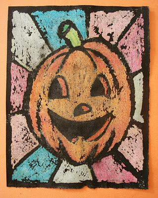 Oil Pastel Resist Halloween Art