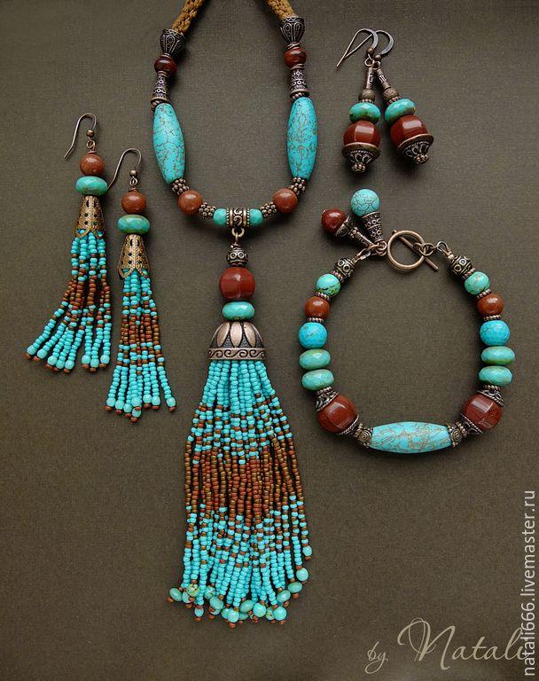 """Купить Браслет """"Kahula"""" – яшма, турквенит, чешское стекло – яшма, браслет с яшмой, украшения с яшмой"""