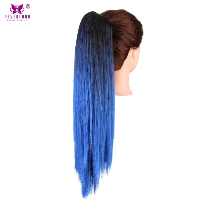"""Neverland Synthetic Straight Claw Clip On Ponytail Extension Fake Pony Tail 20"""" Ombre Hair Extension Hairpiece Black to Blue"""