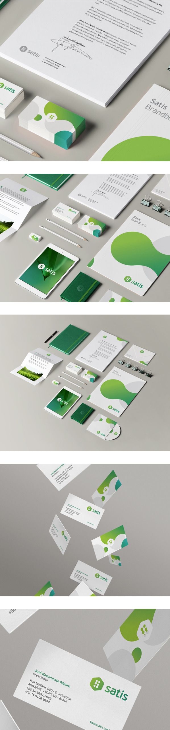Satis Branding - a nice example of how a brand is consistent in theme but alters slightly across different applications