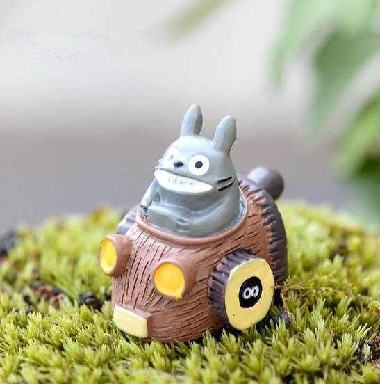 1pcs totoro Riding Driving car Ornaments fairy miniature garden gnome moss desktop bottle garden Figurines for home decor 007