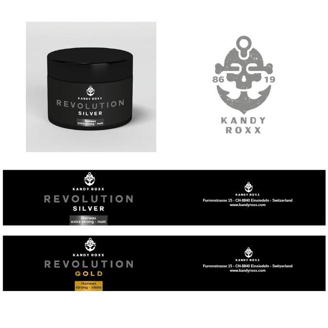 Verpackungsdesign Etiketten f眉r Haarwax Kandy Roxx by stylemeister