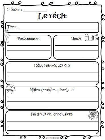 Organisateur graphique gratuit pour les élèves sur le récit (texte narratif).