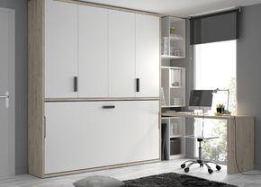 Kids Touch 74 Abatibles Juvenil Camas Abatibles: Habitación con cama abatible, armario corredero y escritorio.