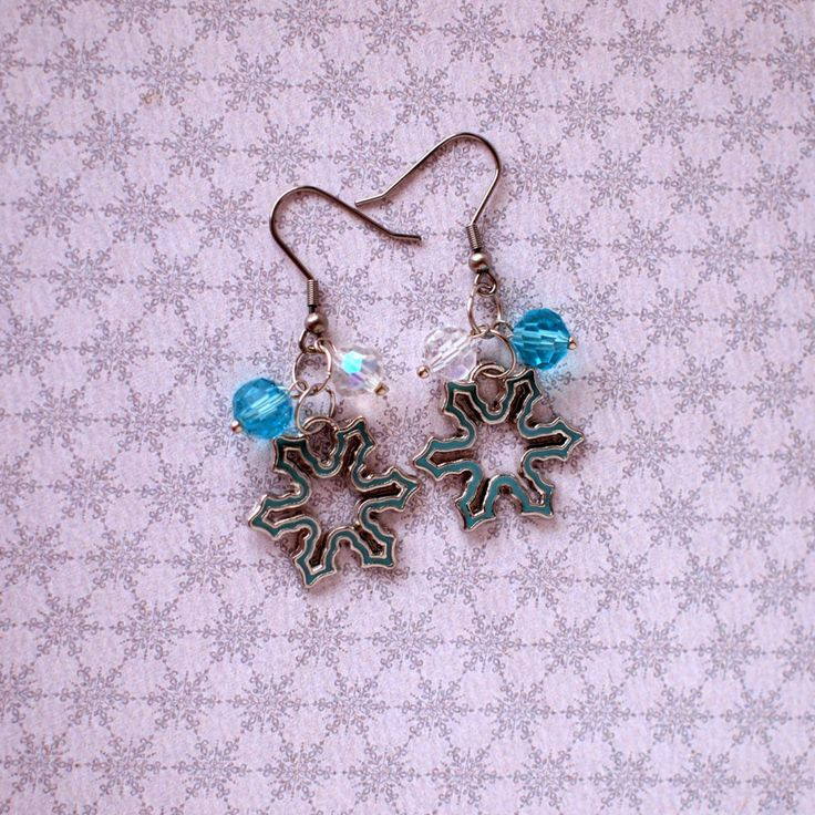 Snowflakes earrings Sky blue and white crystal beads earrings Winter earrings Xmas jewelry Winter holiday gift Hypoallergenic by AnyankasHandiworks on Etsy