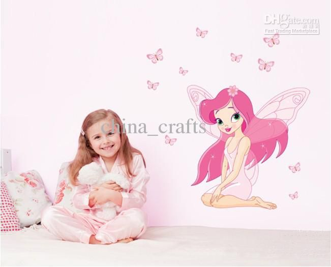 Hot Sale Removable Flower Fairy Wall Decor Nursery Wall Stickers Decals Girls Room Wall Decals Home Decals Online with 4.1/Piece on China_crafts's Store | DHgate.com