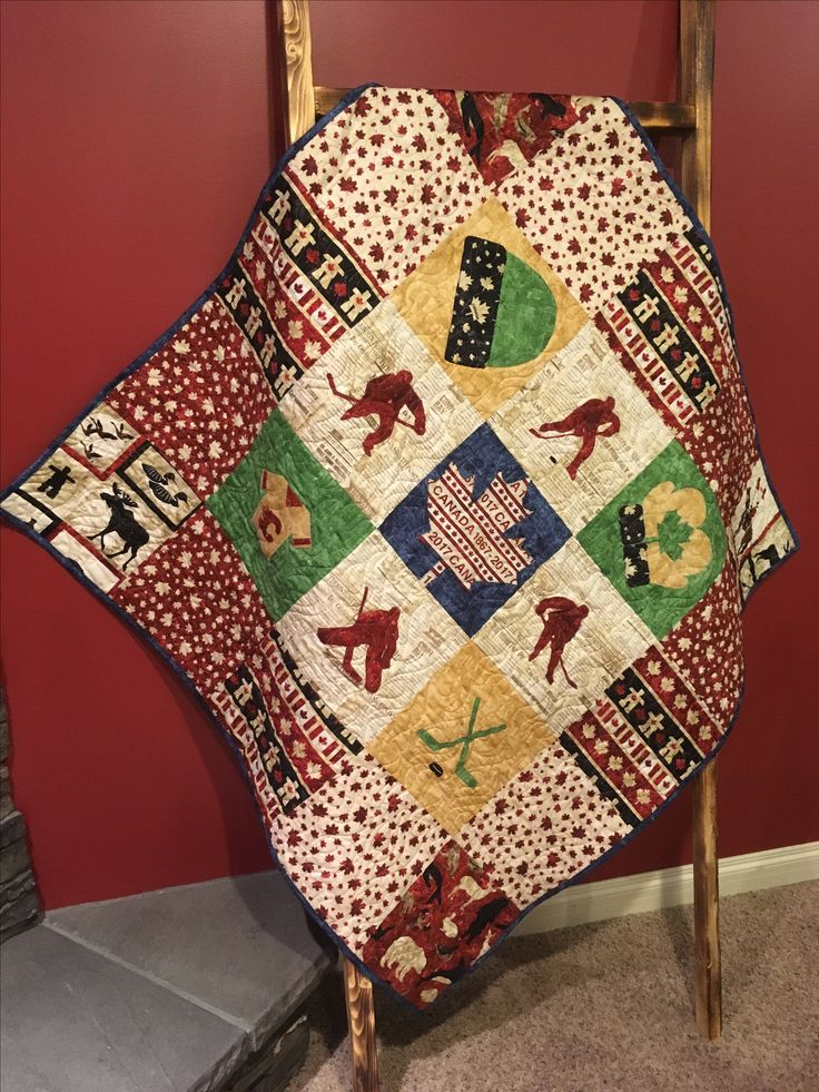 Quilted Legacy- Binding the Generations. Custom quilting and services. Canada hockey baby Quilt-