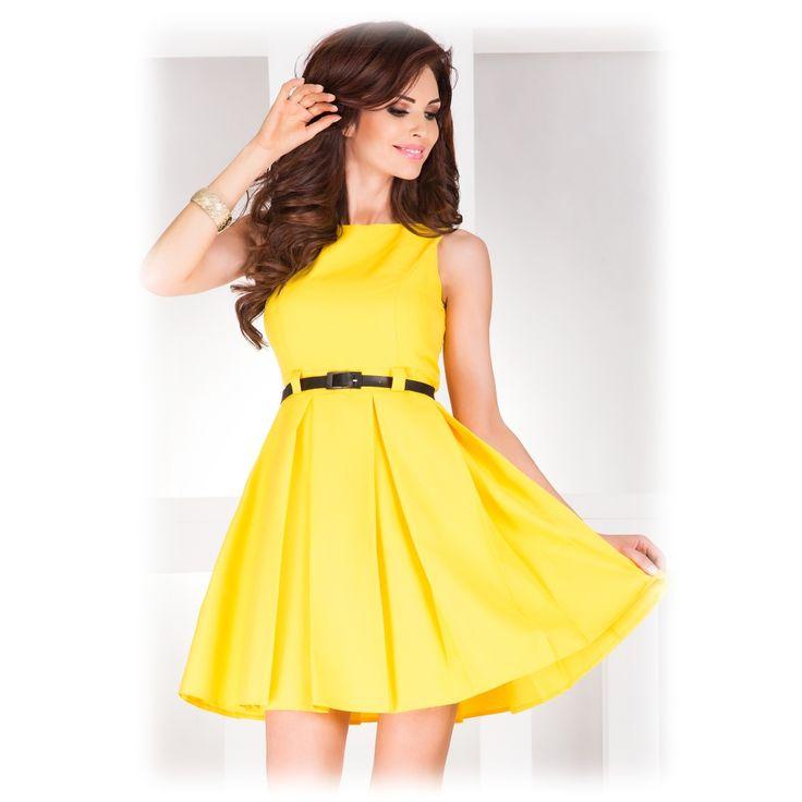 Společenské šaty se sklady žluté