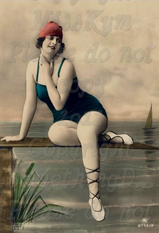 Blue suit and a Red cap, Bathing Beauty , Edwardian  Swimmer vintage photo digital download. $2.50, via Etsy.
