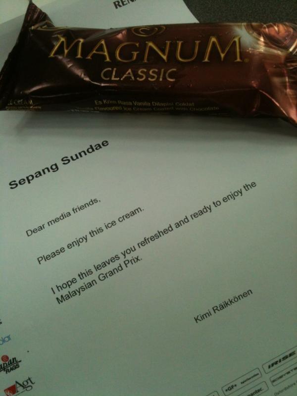 Sepang Sundae - Nice little present from Kimi Raikkonen - GP Malaysia 25th March 2012 #formula1 #f1 #malaysia #magnum #raikkonen
