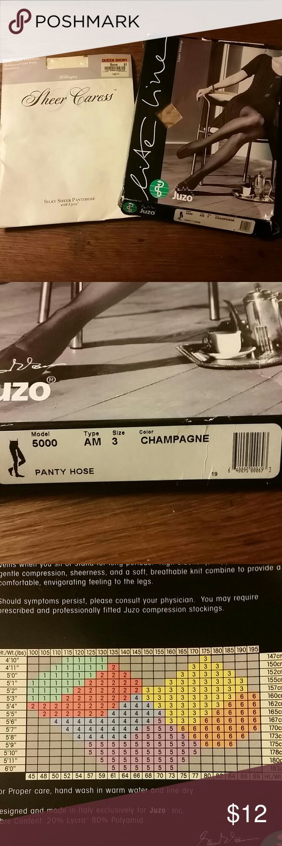 """Two NWT Queen Size Petite Hosiery One Juzo Lite line support stocking Pantyhose Model 5000 Type am Color Champagne Size 3 (4'10""""-5'6""""and 150-195lbs)   ONE Sheer Caress Worthington Silky sheer pantyhose Reinforced light panty Sandlefoot foot Color Bone Queen short 4'11""""-5'6"""" and 141-215lbs Worthington Intimates & Sleepwear Shapewear"""