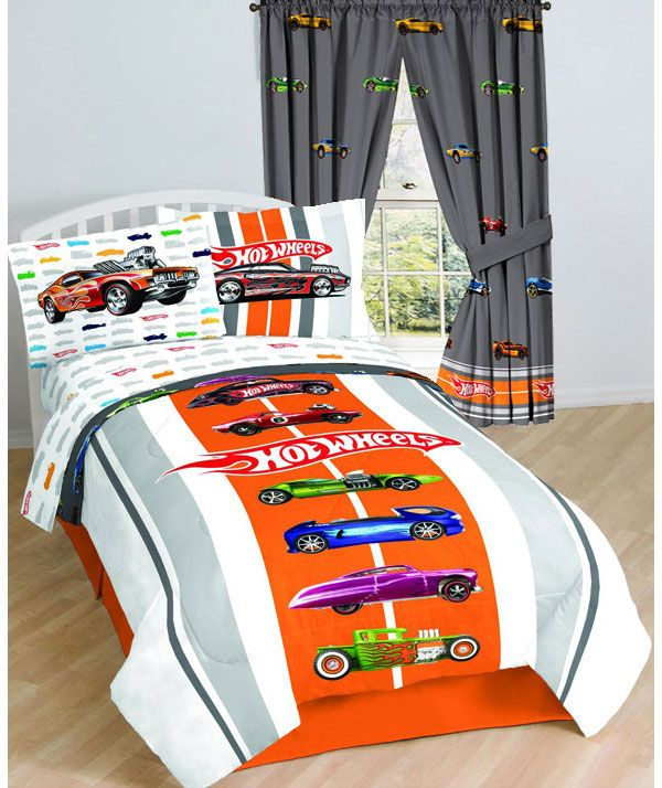 Hotwheels Full Bed Sheet Set Vintage Muscle Car Bedding Twin. Comforter And  Curtains For Zaiden