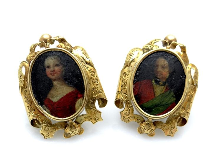 antike OHRSTECKER / OHRRINGE um 1800 mit HANDMALEREI / 750 GOLD / HANDARBEIT | eBay