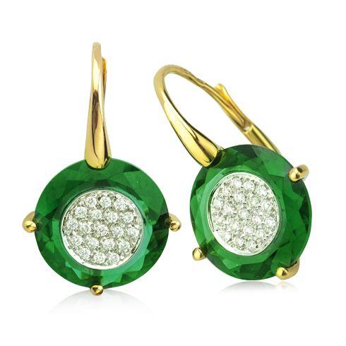 Cercei din cuart verde si diamante C197