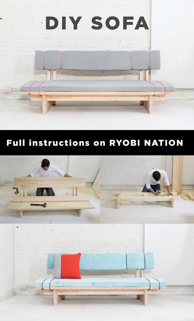 This DIY sofa by Ben Uyeda at Homemade Modern can be made for less than $100 and requires no sewing! Find plans for this project on RYOBI Nation.