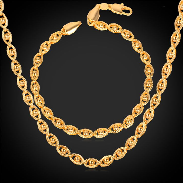 Cheap Jewelry Sets, Buy Directly from China Suppliers:                      Jewelry Sets Men's Gold Chain Necklace Bracelet Set 18K Stamp 18K Gold Plated 5MM 55CM 22&qu