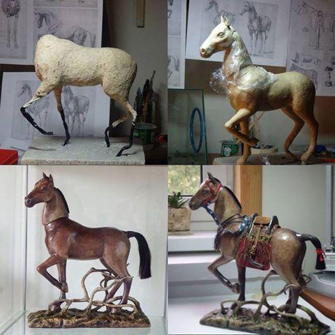 Конный процесс #papiermache #sculpture #art #artdoll #dolls #ooak #instadoll #handmade #horse #bjd #horse #jointeddoll #process