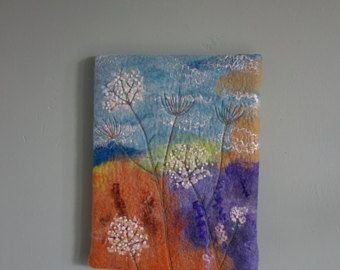 felted picture floral picture felt painting textile wall art flowered picture felted flowers wall decor felt picture multicoloured art