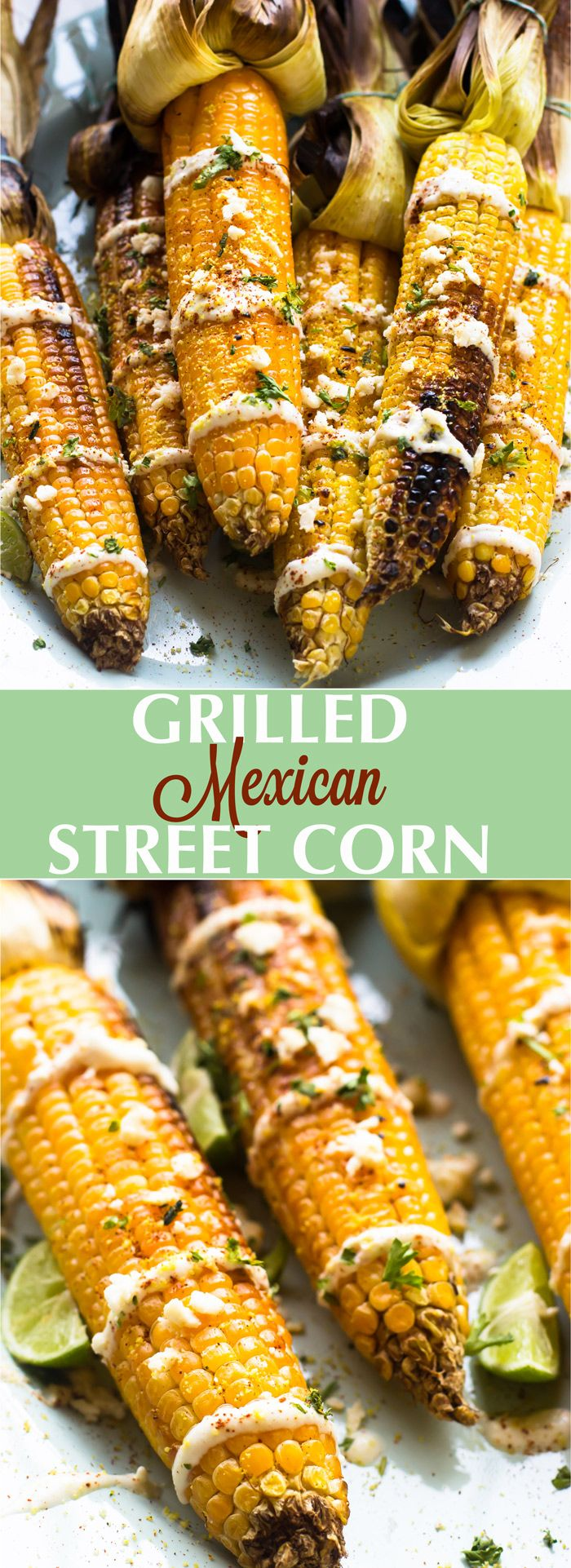 This Grilled Mexican Street Corn is grilled to smoky perfection then smothered in a delicious and creamy vegan mayonnaise blend and Lime Crema. It's the best side dish!