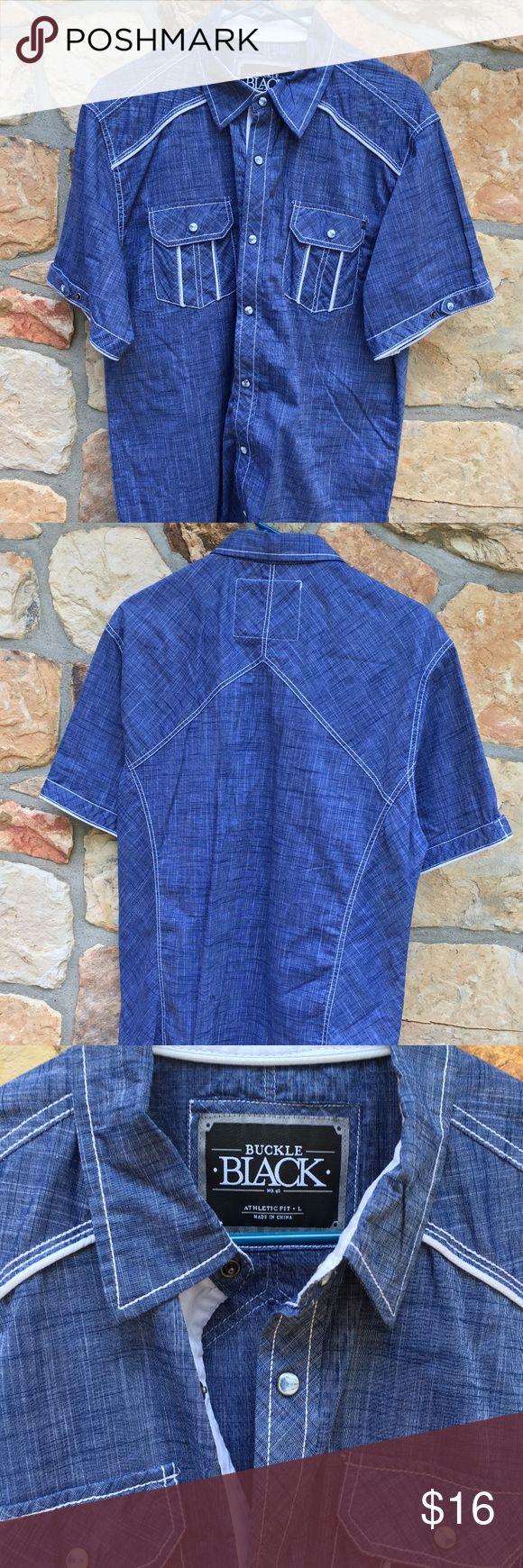 Buckle Black Denim Short Sleeve Button Down Shirt Men's Buckle Black Short Sleeve Button Down Shirt  Great Condition Athletic Fit  Men's Size Large (L) Buckle Shirts Casual Button Down Shirts