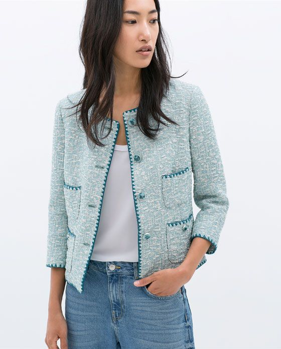 ZARA - SALE - CONTRAST EMBROIDERED JACQUARD JACKET