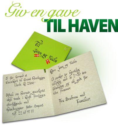 Hos Grønt Havedesign kan du købe et gavekort til feks haveplan, haveanalyse eller rådgivning om haven. Se mere her