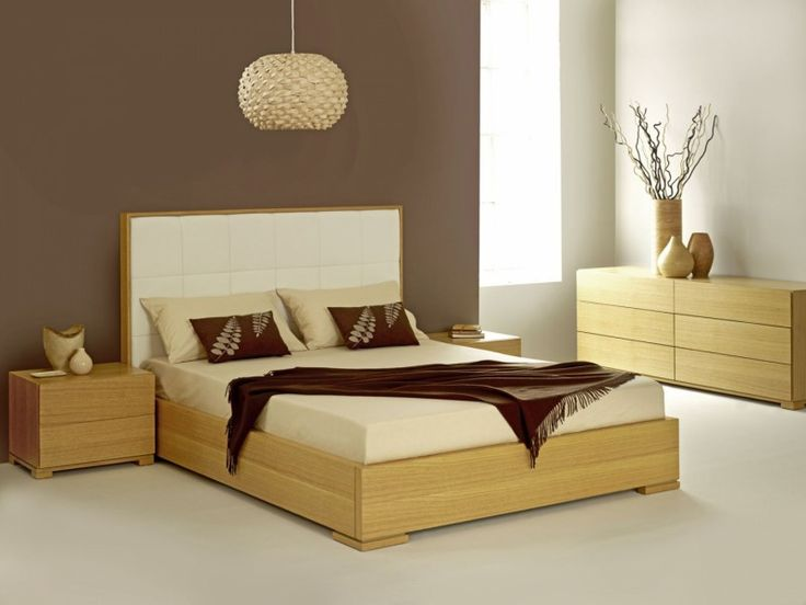 Fabulous Wooden Bed Designs With Bright Headboard Plus Cream Pillows And  Chocolate Duvet Under Floating Lamp