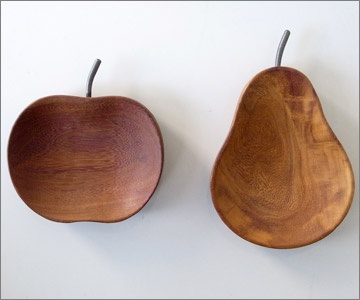 apple pear wooden bowls