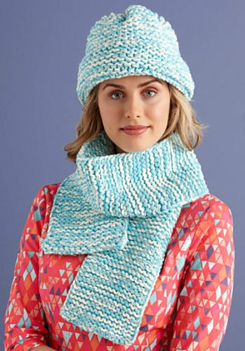 98f9c543230 Loom knit this hat and scarf set with the Martha Stewart Crafts Lion Brand  Yarn Knit