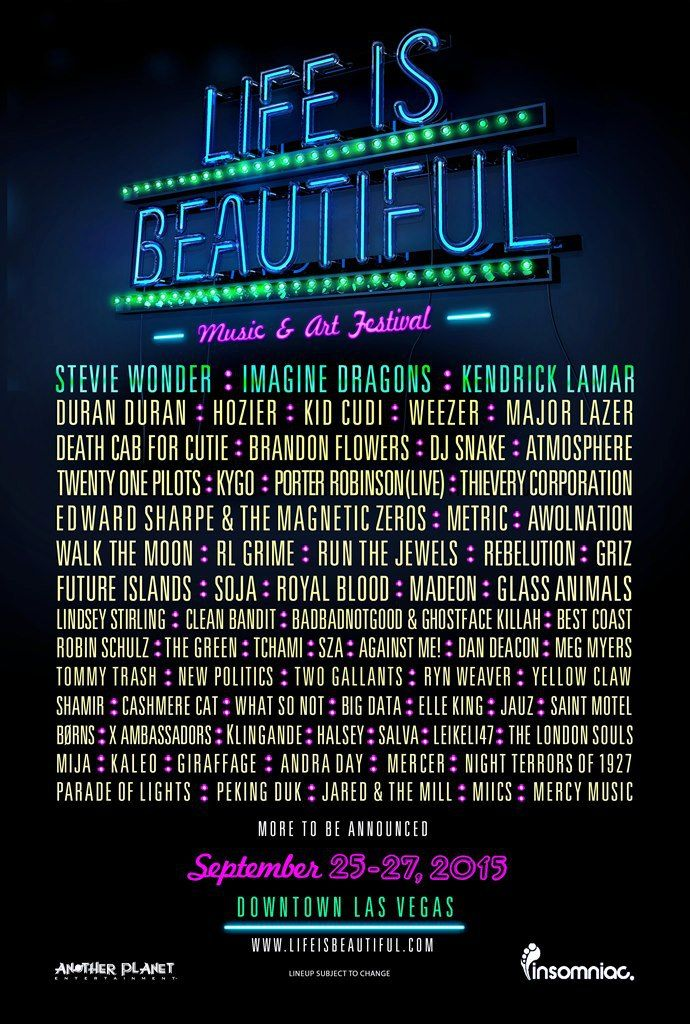 Life is beautiful line up 2015